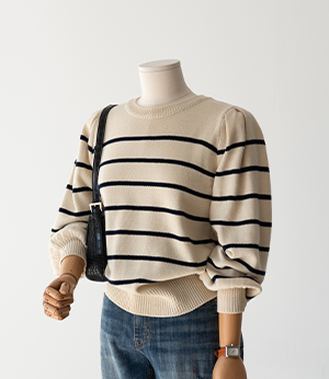balloon shirring stripe knit[니트BNZ21] 2color_free size안나앤모드